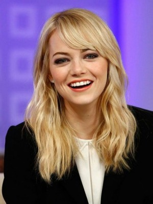 Emma Stone Attractive Lace Front Wavy Remy Human Hair Wig