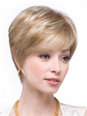 Chic Short Straight Human Hair Capless Wig