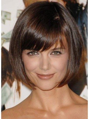 Pretty Short Straight Black Human Hair Bob Capless Wig