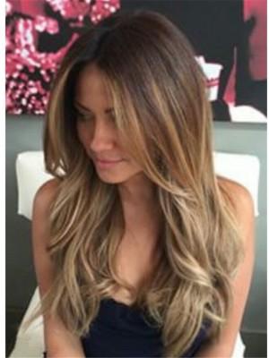 Superb Long Wavy Layered Human Hair Lace Front Wig