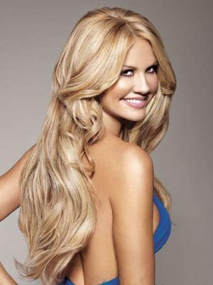 Full Lace Human Hair Long Length Wavy Wig